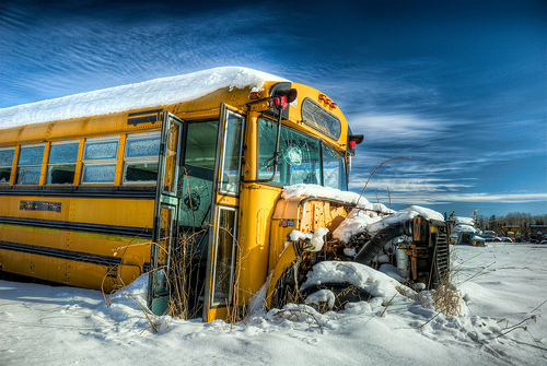 broken school bus photo
